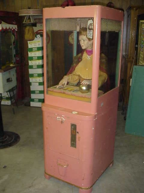 Mike Munves Fortune Teller Machine 1930's, Original Mike Munves Grandma fortune Teller in good original condition. A lifelike movements make the process appear to be alive and give her fortunes..., https://www.gameroomshow.com/product/archive-gallery/mike-munves-fortune-teller-machine-1930s/, 0,