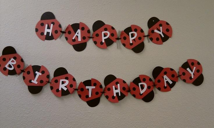 Red and Black Ladybug Banner Happy Birthday Ladybug 1st Birthday Party Baby Shower Black and Pink. $20.00, via Etsy.