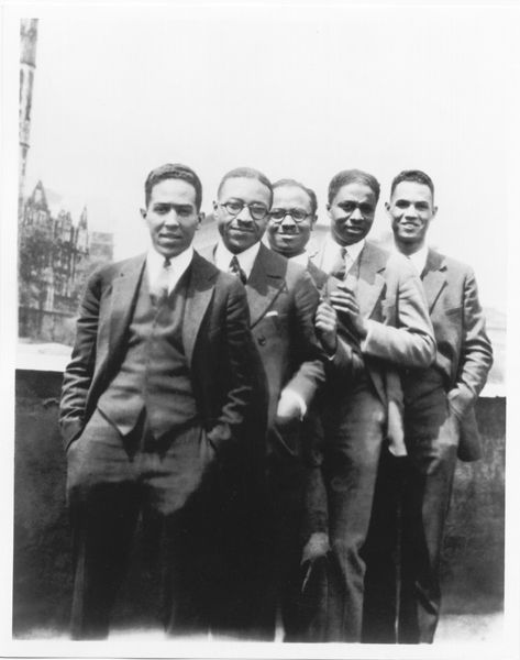 Author Langston Hughes with (left to right) Charles S. Johnson, E. Franklin Frazier, Rudolph Fisher, and Hubert T. Delaney. All were part of the Harlem Renaissance