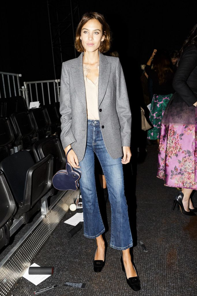 cropped flare denim paired with loafers and blazer