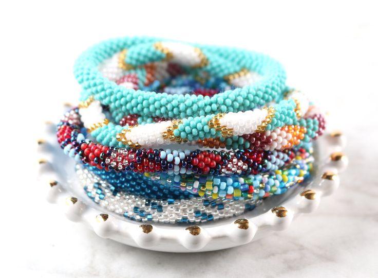 Nepal Glass Beaded Bracelets-Blues @hipsterrow