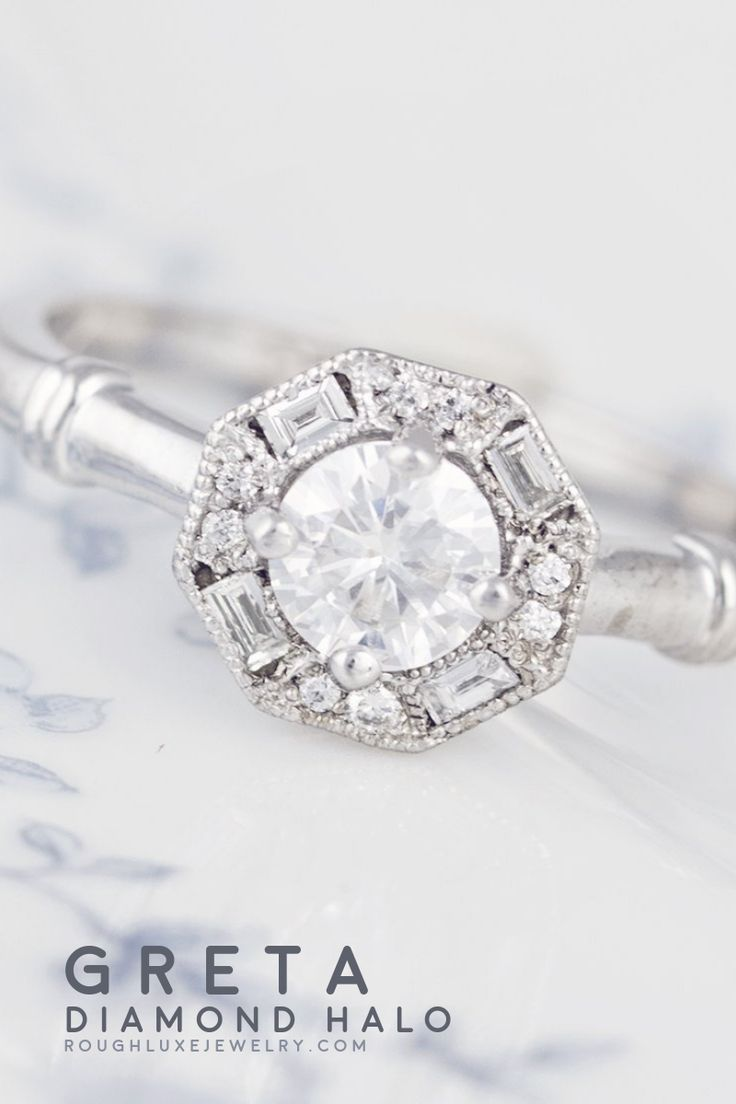 Greta Art Deco Ring Vintage Inspired Engagement Rings Round