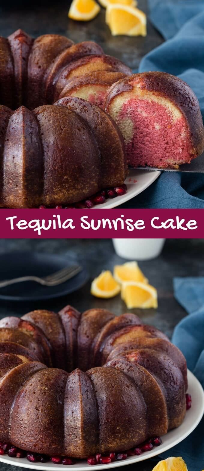 Making a Tequila Sunrise Cake for a holiday party could be the best idea ever! It's colorful, festive, and sure to be a show-stopper this holiday season. via @introvertbaker