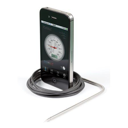 iCelsius BBQ Thermometer by Aginova. $60.00. Great for monitoring cooking food. Sounds alarm or calls other phones when the measurement is out of range. Free app allows you to read and store temperatures, set up alerts and create or email graphs. The iCelsius BBQ is a cooking thermometer that connects to your iPhone, iPad or iPod touch. The free app displays readings in real-time and allows you to set up alarms for a desired temperature. This is a perfect tool for monitoring food...