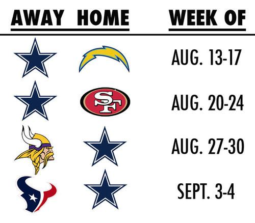 Cowboys Open Preseason Schedule With Pair Of West-Coast Games. One way or another, Adrian Peterson's going to be in AT&T Stadium this summer for a Dallas Cowboys game. Helmet decal to be determined.