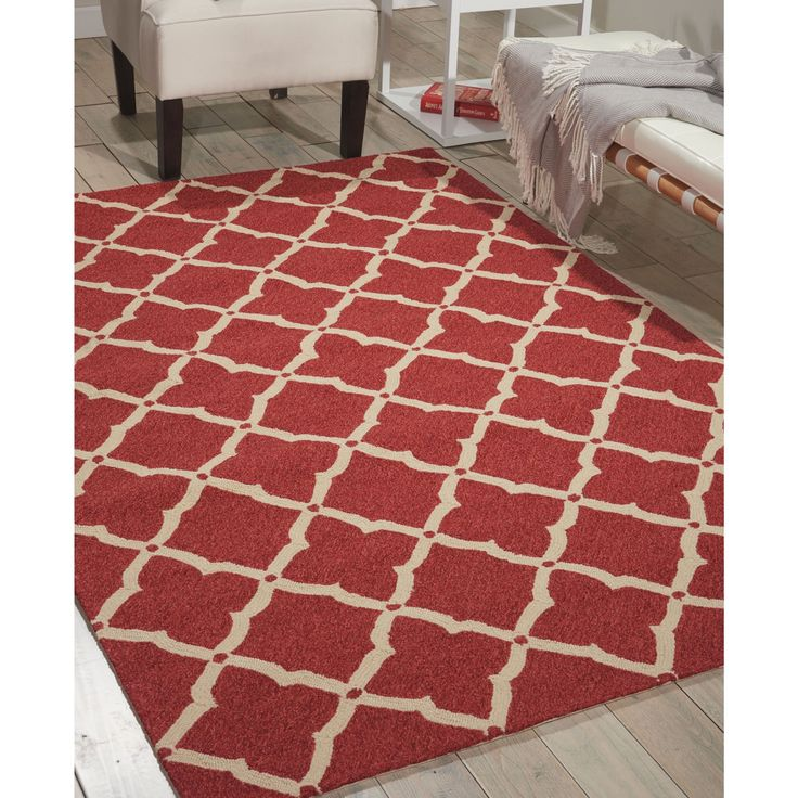 """Nourison Portico Red Indoor/ Outdoor Area Rug (2'3 x 3'9) (2'3"""" x 3'9""""), Size 2' x 3' (Plastic, Abstract)"""