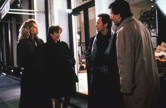 Meg Ryan, Billy Crystal, Carrie Fisher, and Bruno Kirby in When Harry Met Sally... (1989)