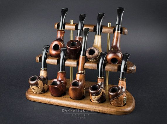 Wooden Pipe Stand, Rack stand for 9 pipes, Holder for Tobacco Smoking Pipes…
