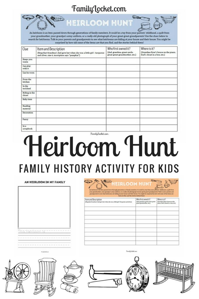 Heirloom Hunt – Family History Activity for Kids and Grandparents – Family Locket