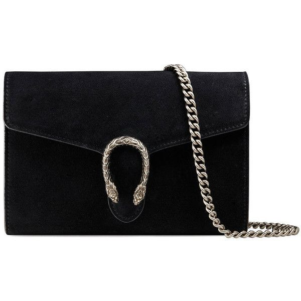 Gucci Dionysus Suede Mini Chain Bag ($1,350) ❤ liked on Polyvore featuring bags, handbags, shoulder bags, gucci, sac, black, chain-strap handbags, mini handbags, gucci purses and chain handle handbags