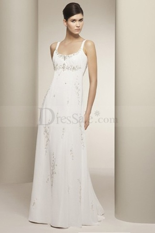 Embroidered Chiffon Empire Square Wedding Dress