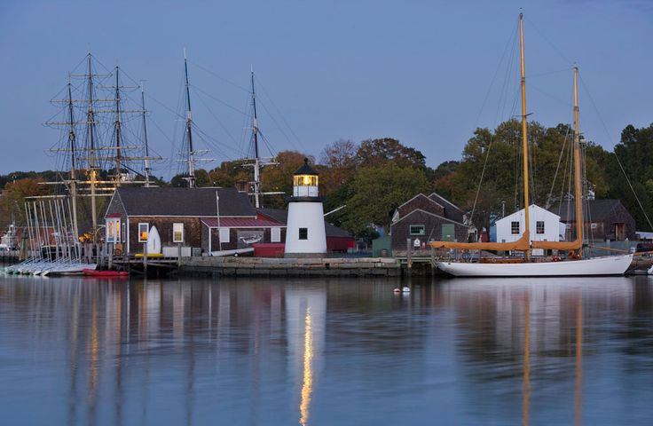 Mystic Seaport as seen from across the Mystic River. Photo by Michael Melford, courtesy of Mystic Country, Connecticut.