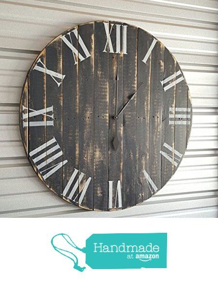 "30in ""Classic"" farmhouse clock with dark gray distressed finish and white roman numerals. Fixer upper clock, reclaimed wood clock, shabby chic clock, rustic clock, oversized wall clock, from Avery St. Design Co. https://www.amazon.com/dp/B01KEHG0KM/ref=hnd_sw_r_pi_awdo_kBskybEGVZ0B6 #handmadeatamazon"