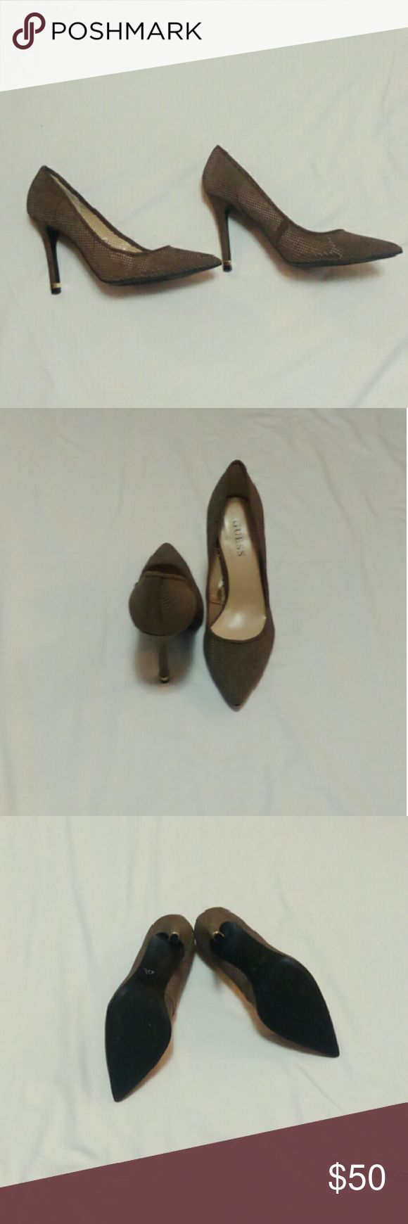❤Make an Offer❤ suede-like pointed heels Very cute, tan, perforated heels. Perfect for business or pleasure. Would be very sexy with dress slacks or a pencil skirt. Never used but no box. (I purchased in a department store and removed the sticker tags from the inside for your convenience.) Textile materials. (Appears to be microfiber.) 4 inch heels with a gold accent piece. -UPDATE- It appears I accidentally scorched a small spot with the hair dryer when removing the stickers, as depicted in…