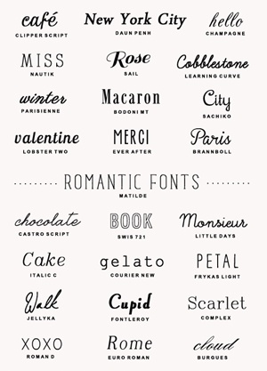 25 romantic fonts | a subtle revelry