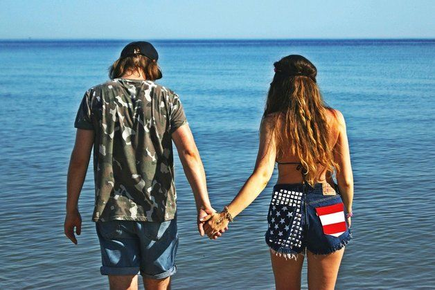 Shorts & hotpants - Denim shorts met de Amerikaanse vlag - Een uniek product van D-S-M op DaWanda