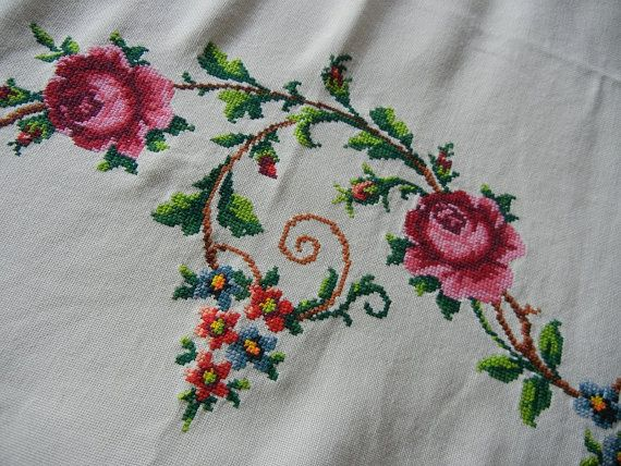 Embroidered Rose Tablecloth by GroovyRejuvy on Etsy