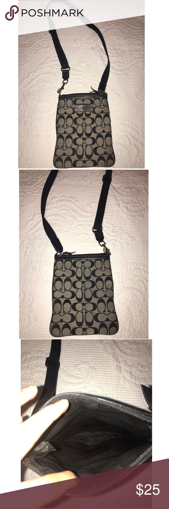 Coach Crossbody Used many many times! It's been shown love but is still in good condition! No rips or stains. It's a thin cross body so it won't hold too much but it's perfect for traveling! Coach Bags Crossbody Bags