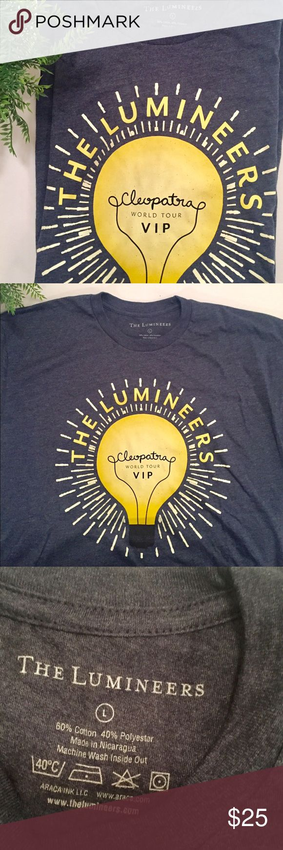 🆕 The Lumineers Tour Shirt. 🆕 The Lumineers world tour T-shirt. Brand new never worn!!! I purchased a VIP package when I saw them and this was part of the package. You can only get this shirt by purchasing the package with was over $200. This is a unisex large and has some stretch. Tops Tees - Short Sleeve