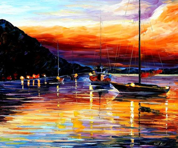 "Harbor Of Messina — PALETTE KNIFE Oil Painting On Canvas By Leonid Afremov - Size: 40"" x 30"" (100cm x 75cm)"