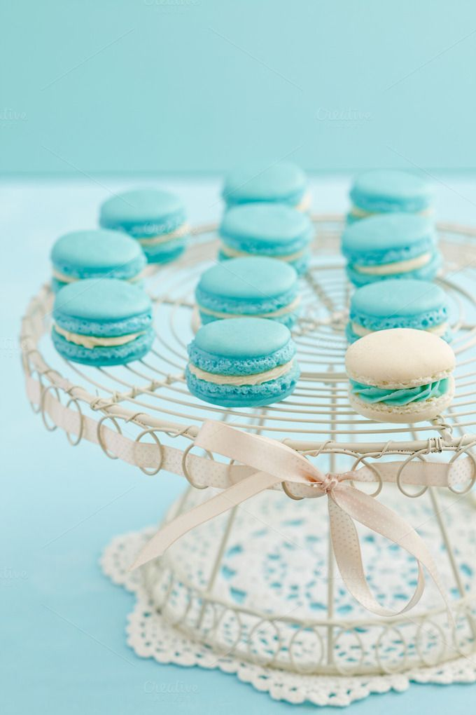 Light blue macarons by foodphotolove on Creative Market