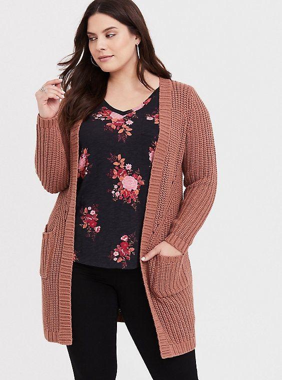 5f3c7878e2f Plus Size Clothing for Women. Tan Slouchy Ribbed CardiganTan Slouchy Ribbed  Cardigan