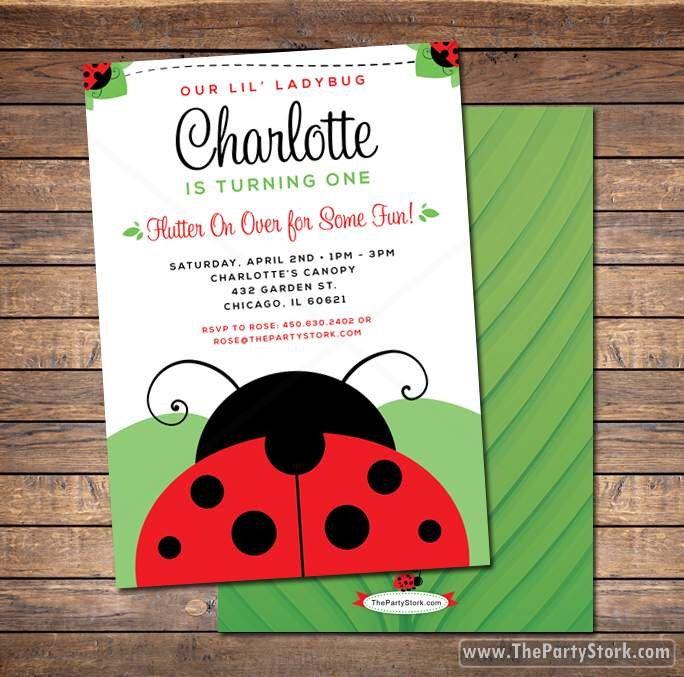 Ladybug Invitation / Printable Red Ladybug Invite / 1st Birthday Ladybug Invitations / Girls Birthday Party Invites by thepartystork on Etsy https://www.etsy.com/listing/185159279/ladybug-invitation-printable-red-ladybug