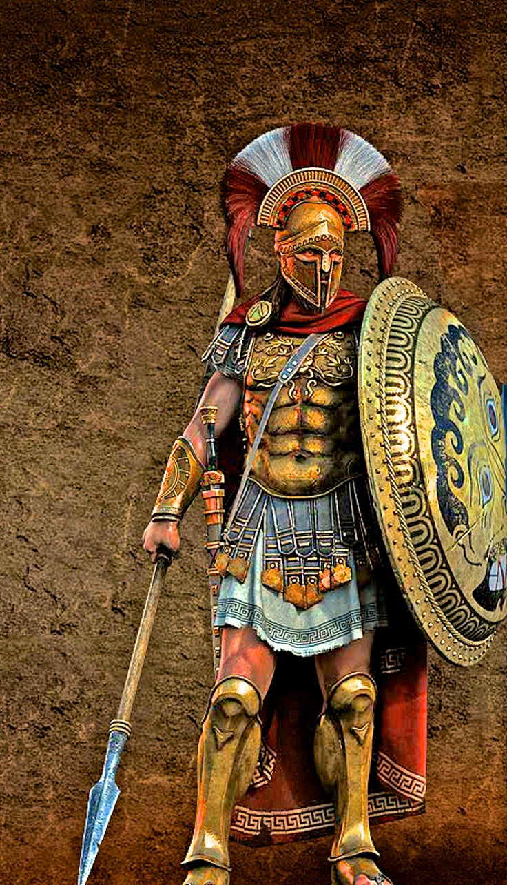 Illustration of a Lacedaemonian / Spartan hoplite officer. The shield and kilt (can we just call them skirts?) is particularly cool. Another author unknown (come on Pinners!).