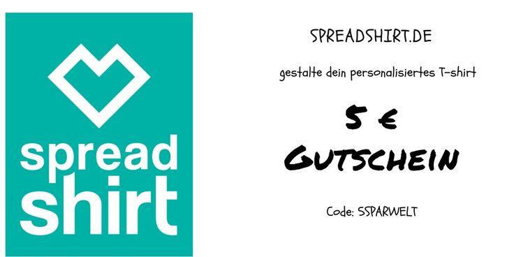 Gutschein für den Onlineshop von spreadshirt.de. Selbst gestaltete T-shirts drucken - Handyhüllen gestalten und mit  eigenen Designs bedrucken. Gutscheincode für 5 Euro Rabatt: 5SPARWELT | von Couponplatz.de