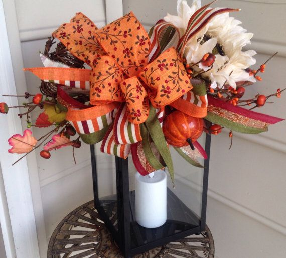Fall lantern swag,lantern swag,fall decor,ribbon swag