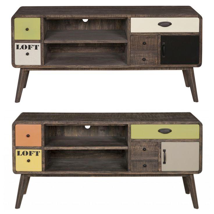 Vintage rock tv tables - Χειροποίητο έπιπλο τηλεόρασης από μασίφ ξύλο μάνγκο  Διαθέτει 4 συρτάρια διαφόρων μεγεθών, ένα ντουλάπι και δύο ραφιαΣε δύο χρώματα: - Pale version (μαύρο/λευκό/λαδί ανοιχτό) - Bright version (πορτοκαλί/κίτρινο/πράσινο)