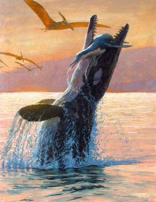 Tylosaurus vs Dolichorhynchops (Sea Monster by James Gurney)