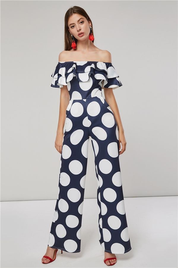 ae748679130c Polka Dots Color Block Off Shoulder Ruffled Women s Jumpsuit in 2019 ...