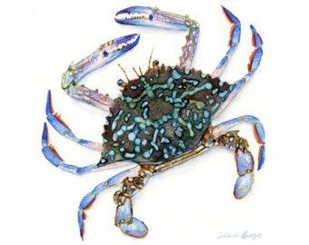 Crabe bleu art aquarelle-crabe Art de la vie par Marysflowergarden
