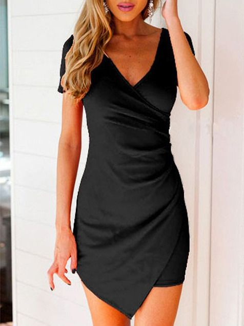 Black V Neck Short Sleeve Asymmetrical Bodycon Dress