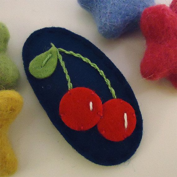 NO+SLIP+Wool+felt+hair+clip+Cherry+red+navy+by+MayCrimson+on+Etsy,+$7.00
