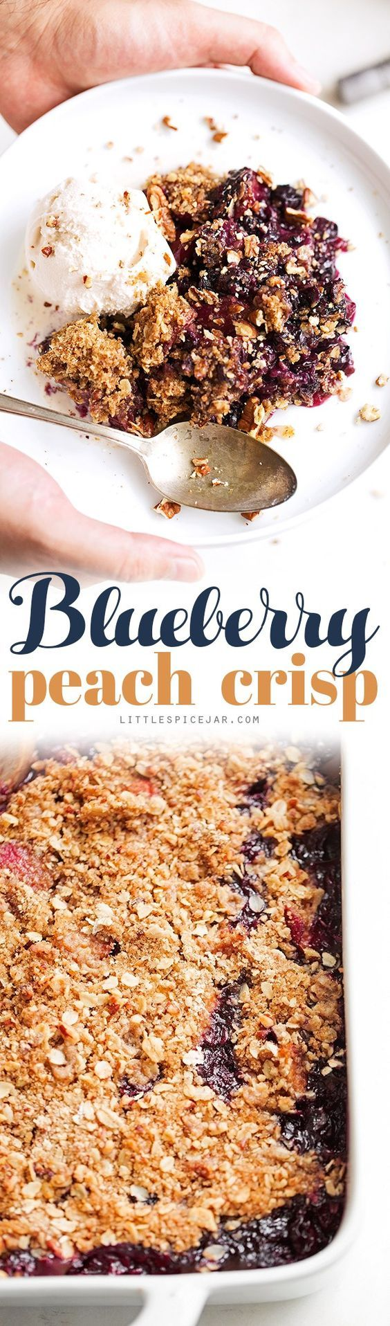 ***Blueberry Peach Crisp ~ a super summery dessert topped with a pecan and oat crumble.