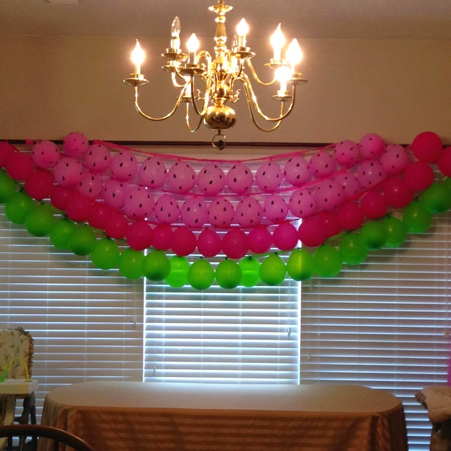 Watermelon balloon decoration.