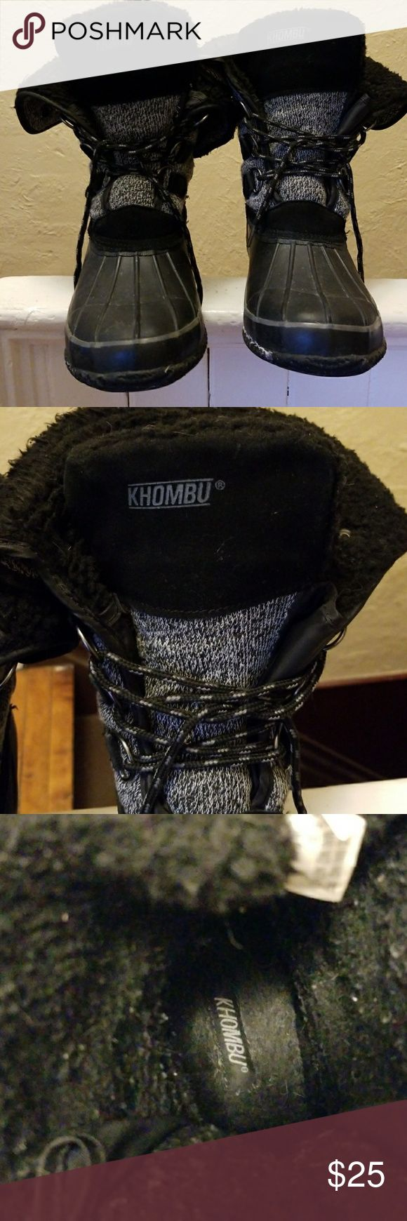 Khombu Winter Boots Khombu Boots that have rubber bottoms. Three eyelets for laces and the top can be folded over or pulled up! Khombu Shoes Winter & Rain Boots