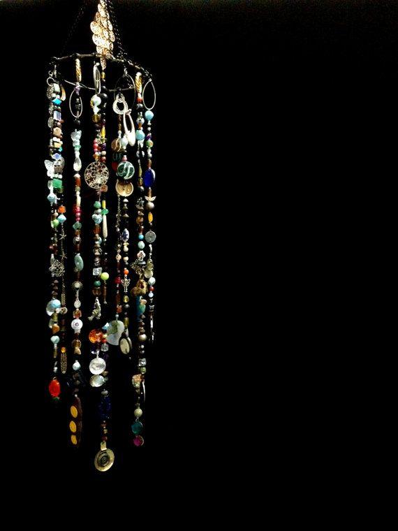 Bohemian Boho Inspired Mobile Suncatcher Hanging - Home Garden Decor - Beads and Random Findings - Live Now