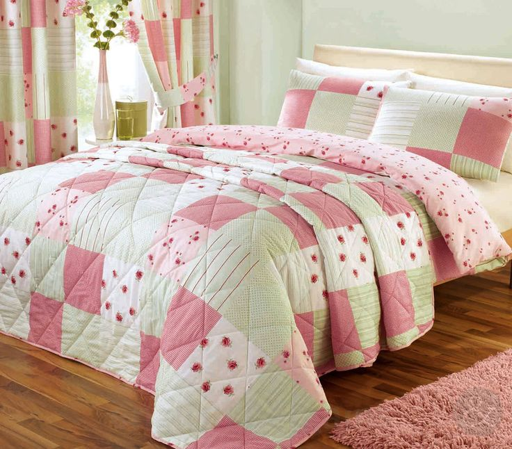 Shabby Chic Patchwork Duvet Cover Fl Pink Green Quilt Bedding Set