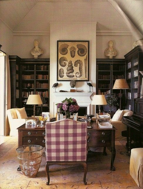 dream office & library in my English cottage - love the lavendar check, cream accents, dark book shelves and subtle rug pattern and color