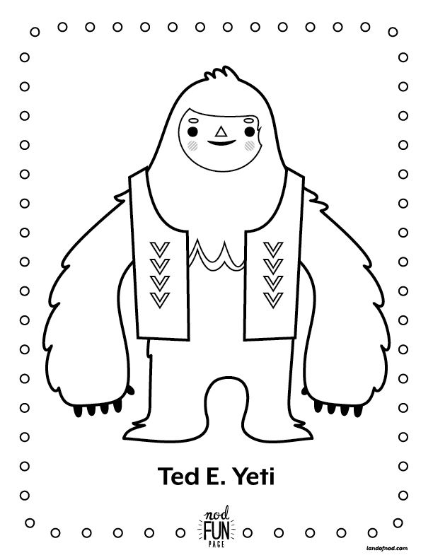 Nod Printable Coloring Pages: Winter Yeti | Coloring pages ...