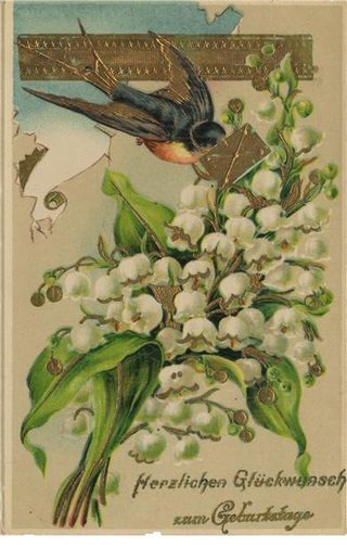 Lily of the Valley and Swallow. a favourite flower and a favourite bird. Perfect. RMcN