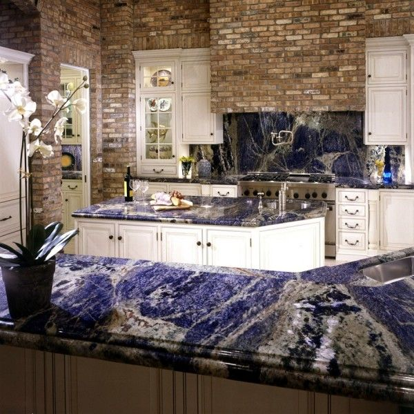 Sodalite blue granite countertops and backsplash for Navy blue granite countertops
