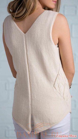 """Описание вязания топа от дизайнера Sandi Prosser переведено из журнала """"Creative Knitting"""".  Размеры:  S (M, L, XL, 2XL)  Окружность груди – 89 (96.5, 106.5, 117, 127) см,"""