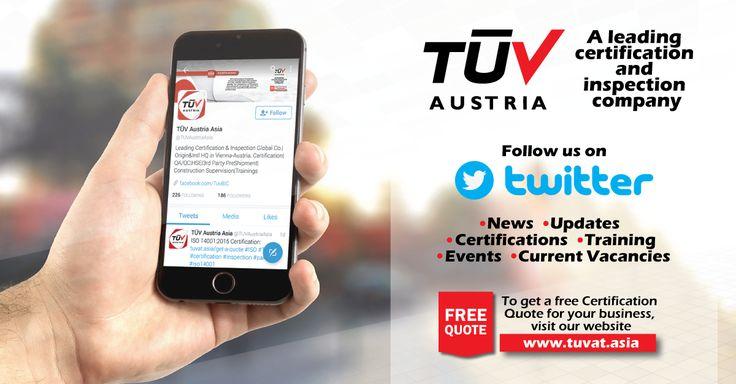 For latest News,events, certification updates, current vacancies, follow us on twitter: https://twitter.com/TUVAustriaAsia  #ISO #twitter #TUV #certification #inspection #pakistan #iso14001 #iso9001 #bangladesh #srilanka #lahore #karachi #colombo #dhaka
