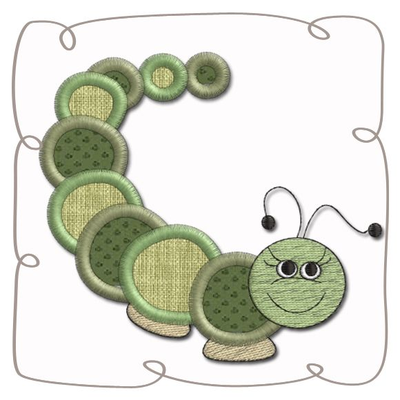 Worm Applique machine EMbroidery Design pattern-INSTANT DOWNLOAD