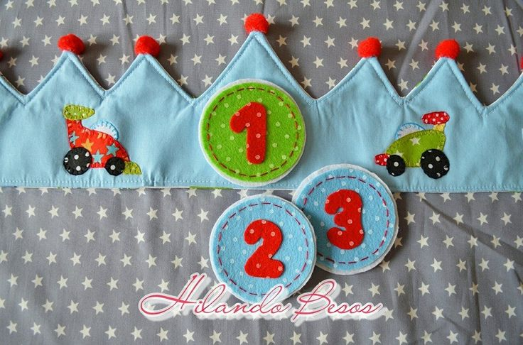 Corona cumpleaños coches niño