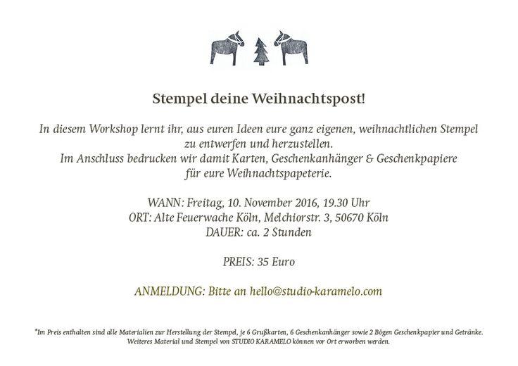 Weihnachtlicher Stempel-Workshop Köln | STUDIO KARAMELO | Stempel selbermachen und Weihnachtskarten drucken